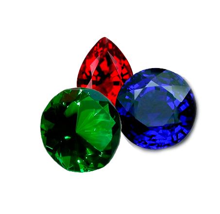 rubin, smaragd og safir