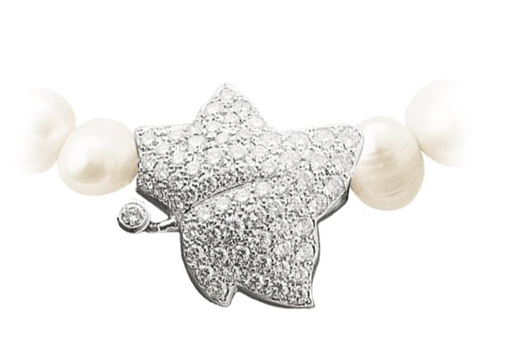 perlekjede med blad i sølv med diamanter