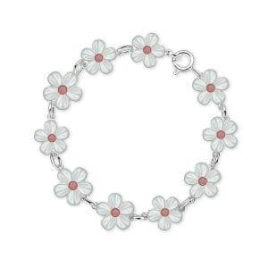 Armbånd I Sølv - Hvite Blomster