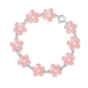 Armbånd I Sølv - Rosa Blomster