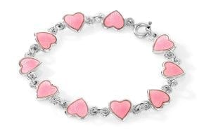 Armbånd I Sølv - Rosa Hjerter