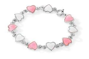 Armbånd I Sølv - Rosa/ Hvite Hjerter