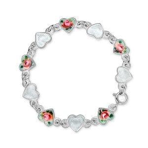 Armbånd I Sølv - Roser/ Hvite Hjerter