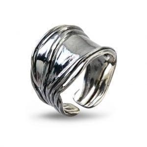 Birdie Ring Nebula Silver Slim Oxy
