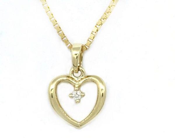 Gult Gull Anheng Hjerte M/ Diamant 0