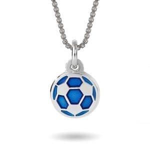 Halskjede I Sølv - Blå Fotball