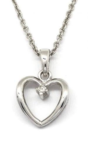 Hvitt Gull Anheng M/ Diamant 0