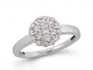Hvittgull Ring Rosett M/ Diamanter Totalt 0